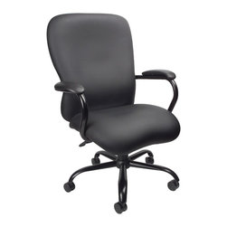 BossChair - Boss Heavy Duty Caressoft plus Chair - 350 Lbs - Big man's chair. 2 paddle spring tilt mechanism which can be locked in any position throughout the tilt range. Pneumatic gas lift seat height adjustment. 27 brushed metal five star base. 3 double wheel casters. Weight capacity 350lbs. Upholstered in Black Caressoft Plus.