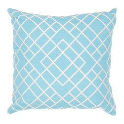 Jaipur - Modena Pillow, Blue & Natural Set of 2 - Funky range of pillows in poly dupione use rich jewel tones expressed in a highly textural and fun way. Perfect for a touch of retro glamour in your home.