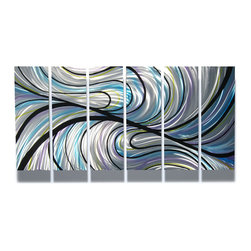 Miles Shay - Metal Wall Art Decor Abstract Contemporary Modern Sculpture- Convergence - This Abstract Metal Wall Art & Sculpture captures the interplay of the highlights and shadows and creates a new three dimensional sense of movement as your view it from different angles.