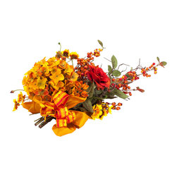 Gold & Orange Hydrangea Runner Tie On - This is the perfect centerpiece  for your dining room table. Though it screams autumn, you'll want to enjoy its sunny colors well past fall. Giving an elaborate present this year? Attach it to your gift like a bodacious bow — get creative!