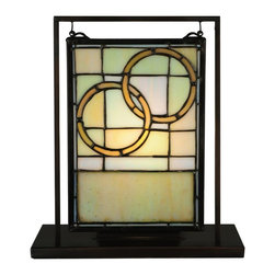 Meyda Tiffany - Meyda Tiffany Wedding Mini Window and Light Display X-01556 - An excellent wedding gift or anniversary gift, this Meyda Tiffany mini window and light display features two rings, forever linked. The golden rings are highlighted by the warm, dusky tones of the backdrop. Subtle traditional details, including scrolling hoops from which the frame hangs, completes the look.