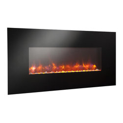 "Outdoor GreatRoom - Linear Gallery Wall Mount Electric Fireplace, 58"" Width - A line of linear electric fireplaces that are so mesmerizing and so unique, you won't believe your eyes. Choose from 13 backlighting colors or leave it off. Turn on the heat to warm your room. These striking, easy to hang electric fireplaces, are sure to add ambiance to any room: kitchen, bedroom, game room, living room and more!"