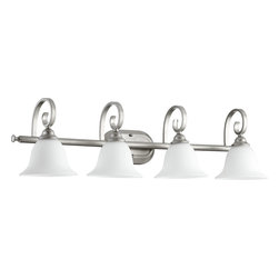 Quorum Lighting - Quorum Lighting Celesta Traditional Bathroom / Vanity Light X-46-4-3505 - From the Celesta Collection, the scrolled arms of this four-light Quorum Lighting bathroom light add just enough interest to any bathroom space. Classic Nickel finish adds to the versatile feel of this transitional bathroom light, while satin opal glass bell shades complete the look.