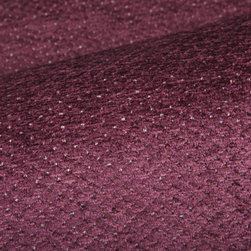 Pointe Upholstery Fabric in Plum - Pointe Discount Designer Chenille Upholstery Fabric in Plum Purple. 100% cotton fabric perfect for upholstering sofas, chairs, seats, and benches, or pillows.
