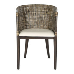 Safavieh - Felton Arm Chair - Inspired by the aesthetic melange of Buenos Aires at the peak of modernity, the Felton arm chair with white cotton cushion is pure sculpture. Its exquisite rattan back with classical arm detail is accented with rugged rawhide and black mahogany legs.