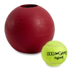 Kyjen Company, The - Dog Games Ball in Ball Rubber Puzzle Pet Toy by Kyjen - Give your pooch a physical and mental workout courtesy of this clever pet toy. With a tennis ball rattling inside the big rubber ball, your pet must figure out how to get the small ball through the only accessible gap in the large outer ball.