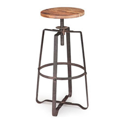 "Industrial Frame Barstool - This barstool ups the edge factor of a room in a huge way. Metal strips interlace to form a cagelike frame in which the distressed elm seat can be adjusted up and down. Pair them for an industrial-inspired breakfast bar, or use one as a mini table on hand for ""emergency"" seating."