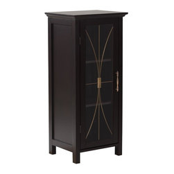 Elegant Home Fashions - Delaney Floor Cabinet with 1 Door - The Delaney Floor Cabinet with One Door in a dark espresso finish from Elegant Home Fashions features an elegant crown molded top with one door offering storage with style for your bathroom.  It is also very functional with two adjustable shelves.  The tempered glass-paneled doors decorated with cathedral style wire, provides a looming view into the cabinet.  It also features metal knobs for easy opening. This cabinet comes with assembly hardware.