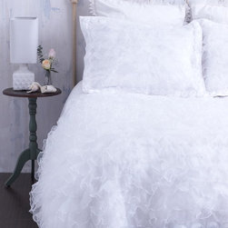 White Ruffled Duvet Cover With Rosette Trim & Chenille Top - This french country duvet cover is not your girl-next-door all white duvet cover. Say hello to the most one-of-a-kind all white bedding on the market. Ultra soft high quality chenille is placed on the top of the duvet for maximum comfort. It's cottage chic ornate snow white ruffles cascade down the body of the duvet. Intricate white rosettes frame the foot of the bed and line the top fabrics. This one of a kind bedding design with layers of interesting textures will transform your bed into your own dreamy cloud. Please shop CloudHunterCo do view our coordinating shams and decor pillows - sold separately.