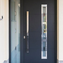 Modern Front Entry Door with a Sidelite - Modern stainless steel entry door with a sidelite.