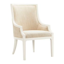 Lexington - Lexington Ivory Key Gibbs Hill Host Dining Chair Set of 2 543-885-01 - Available only as shown in a linen weave construction fabric of light parchment coloration and Somers Isle crisp white finish with subtle parchment highlights.