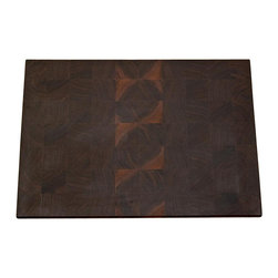 Lone Star Artisans - Medium End Grain Walnut Cutting Board - This lovely medium end grain walnut cutting board hails from sustainable Pennsylvania black walnut. This board is a great size for smaller daily chopping jobs or to be used as a serving board for hors d'oeuvres.  The cutting board has rich, dark colors with an interesting light grain pattern, often from sap wood. It is an eye-catching board that will have guests commenting on its beauty.  Weight: 6lbs.