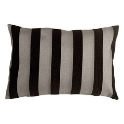 Pillow Decor - Pillow Decor - Brackendale Stripes Black Rectangular Throw Pillow - Made from a beautiful and durable upholstery fabric, this rectangular throw pillow has bold vertical stripes in black and light gray alternating with soft black chenille stripes. The contrasting texture of the stripes give this pillow depth and beauty.