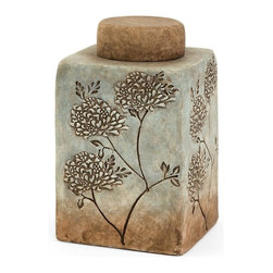 iMax - IMax Fantina Small Canister With Lid - Aqua shades blend into calm sandy ceramic tones in this serene canister featuring textured floral accents.