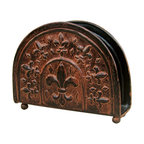 Old Dutch - Old Dutch 'Versailles' Napkin Holder - This 'Versailles' napkin holder by Old Dutch features a warm, antique patina. Handcrafted by skilled artisans, an elegant Fleur de Lis design graces the sides of this beautiful napkin holder.