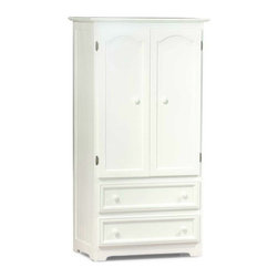 Atlantic Furniture - Manhattan 2-Drawer Armoire, White - It is a perfect example of casual country chic. The vertical detailing of the side panels of this Manhattan 2-Drawer Armoire in White creates both balance and visual interest. With its distinct contemporary cottage feel, it is sure to be the focus of any room.