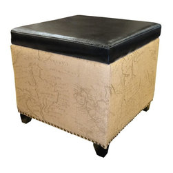 Armen Living - Armen Living Kenya Ottoman - Brown - LC5007OTLEBR - Shop for Ottoman & Footstools from Hayneedle.com! Give your living space a touch of well-traveled style with the Armen Living Kenya Ottoman Brown. This comfy ottoman is more than a place to rest your feet; it opens to reveal spacious storage for blankets pillows and other items. It features a sturdy construction with soft bonded leather upholstery and sides that showcase an old world map graphic. Antiqued nail head trim a black top and black finished wood feet make this ottoman a welcome part of your decor.About Armen LivingImagine furniture without limits - youthful robust refined exuding self-expression at every angle. These are the tenets Armen Living's designers abide by when creating their modern furniture collections. Building on more than 30 years of industry experience Armen Living combines functional versatility and expert craftsmanship into their dramatic furniture styles all offered at price points fit for discriminating budgets. Product categories include bar stools club chairs dining tables ottomans sofas and more. Armen Living is based in Sun Valley Calif.