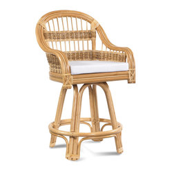 WickerParadise - Tropical Breeze Rattan Counter Stool - Make your guests feel like they're on vacation when they slide up to your outdoor bar or kitchen counter. The wide, cushioned seat and curved arms make this rattan stool perfect for a beach house or your island-inspired decor.