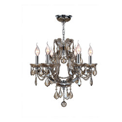 """Worldwide Lighting - Lyre 6 Light Chrome Finish Golden Teak Crystal Chandelier 20"""" x 19"""" - This stunning 6-light Crystal Crystal Chandelier only uses the best quality material and workmanship ensuring a beautiful heirloom quality piece. Featuring a radiant chrome finish and finely cut premium grade golden teak (translucent champagne color) crystals with a lead content of 30%, this elegant chandelier will give any room sparkle and glamour. Worldwide Lighting Corporation is a privately owned manufacturer of high quality crystal chandeliers, pendants, surface mounts, sconces and custom decorative lighting products for the residential, hospitality and commercial building markets. Our high quality crystals meet all standards of perfection, possessing lead oxide of 30% that is above industry standards and can be seen in prestigious homes, hotels, restaurants, casinos, and churches across the country. Our mission is to enhance your lighting needs with exceptional quality fixtures at a reasonable price."""