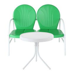 Crosley - Griffith 2-Piece Metal Outdoor Conversation Seating Set, Green - Griffith 2 Piece Metal Outdoor Conversation Seating Set - Loveseat & Table