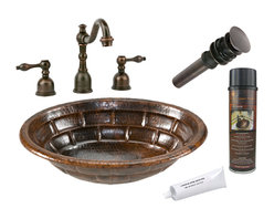 Premier Copper Products - Oval Stacked Stone Self Rimming Sink w/Faucet - PACKAGE INCLUDES: