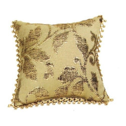 """CCCC-P-341 - Valerie Chenille Metallic Wash Leaf Pattern Print 18"""" x 18"""" Throw Pillow - Valerie chenille metallic wash leaf pattern print 18"""" x 18"""" throw pillow with berry tassel trim. Measures 18"""" x 18"""" made with a blown in foam and also available with feather down inserts at additional costs, search for down insert upgrade to add the up charge to your order. These are custom made in the U.S.A and take 4- 6 weeks lead time for production."""