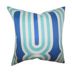 """The Pillow Collection - Persis Geometric Pillow Blue - This accent pillow adds a pop of color to your home with its bright color palette. This indoor pillow features a geometric pattern in shades of blue, aquamarine blue and white. Prop up this 18"""" pillow in your living room, bedroom or office for a relaxing space. Combine with solids and other patterns from our wide selection of throw pillows. Hidden zipper closure for easy cover removal.  Knife edge finish on all four sides.  Reversible pillow with the same fabric on the back side.  Spot cleaning suggested."""