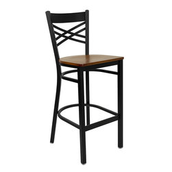 Flash Furniture - Flash Furniture Hercules Series Back Metal Restaurant Barstool - Wood Seat - This heavy duty commercial metal bar stool is ideal for Restaurants, Hotels, Bars, Pool Halls, Lounges, and in the Home. The lightweight design of the stool makes it easy to move around. The tubular foot rest not only supports your feet, but acts as an additional reinforcement that helps secure the legs. You will not regret the purchase of this bar stool that is sure to complement any environment to fill the void in your decor. [XU-6F8BXBK-BAR-CHYW-GG]