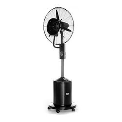 "OASIS FAN/MISTER - The high cost of energy has made evaporation coolers a popular alternative to air conditioning, for businesses as well as for private homes. With a 26"" blade and a 5-gallon water tank, this industrial-grade oscillating misting fan can reduce ambient heat by as much as 30% in any outdoor area. It has three speeds, which can be controlled manually or by remote. The entire unit rests on a set of 5 casters, so it can be moved to wherever it's needed. The water tank is easy to fill, and a single tank can provide 8 hours of non-stop cooling power. And speaking of power, the Oasis uses only 0.05 kw/h of electricity. Plus it has a built-in timer for even better energy efficiency, and an LED display that monitors the ambient temperature. It even saves water by collecting larger droplets in a drip pan that sends them back to the tank. Thanks to the Oasis, you no longer have to be indoors to beat the heat!"