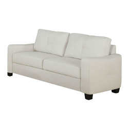 Monarch Specialties - Monarch Specialties I 8703IV White Bonded Leather Sofa - This ivory bonded leather sofa will make a wonderful addition to your living room or den. Its contemporary shape enhances any room with big, plush back and box seat cushions. A stitched design enhances the back cushions, as well as the outsides of the square track arms. The slightly flared design creates an inviting feel, and tapered wooden block feet support this piece. Sofa (1)