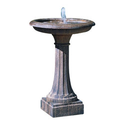Campania - Longmeadow Garden Water Fountain, English Moss - Perfect for an intimate garden setting or patio, the Longmeadow Garden Fountain will make a wonderful water feature for your setting.  With a traditional pedestal and fluted column, this fountain exhibits familiar elements of classic style to enhance your yard or garden.