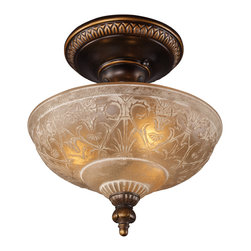 Elk Lighting - EL-08100-AGB Restoration 3-Light Semi-Flush in Golden Bronze - A grouping of ceiling lighting developed with a discriminating concern for preserving historic lighting and architectural designs. This offering of expert restoration and replication fixtures is offered in a wide variety of styles and sizes.