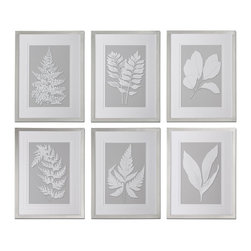 Uttermost - Uttermost Moonlight Ferns Framed Art, Set of 6 41394 - Prints are accented by double Vgrooved, white mats and surrounded by frames with a silver leaf base and champagne wash.