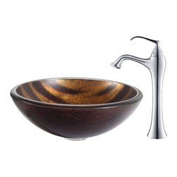 Kraus - Kraus Bastet Glass Vessel Sink and Ventus Faucet Chrome - *The warm coppery tones and contrasting dark brown stripes of the Bastet sink have a soft sheen; running water turns the matte exterior to a vibrant, shiny surface. Pair it with the soft curves of the classically inspired Ventus faucet in chrome for a contemporary twist