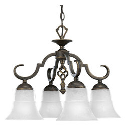 Progress Lighting - Progress Lighting P4059-84 4-Light Chandelier with Etched Watermark Glass Shades - Progress Lighting P4059-84 4-Light Chandelier with Etched Watermark Glass Shades