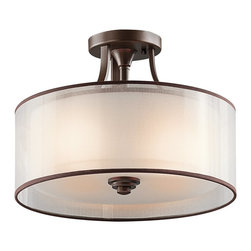 KICHLER - KICHLER Lacey Transitional Semi-Flush Mount Ceiling Light X-ZIM68324 - From the Lacey Collection, the drum shade shape is accentuated by a warm Mission Bronze finish. This Kichler Lighting semi flush mount ceiling light also features an opal inner glass that is complimented by a decorative mesh screen.