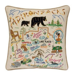 CATSTUDIO - Adirondacks Pillow by Catstudio - These pillows from Catstudio's Geography Collection are delightful keepsakes for remembering the hometown you grew up in or commemorating your favorite vacation spot. Embroidered entirely by hand (over 35 hours go into each one!) with black velvet piping, these make the perfect gift for all occasions! Removable cotton cover and polyfill pillow form. Cover is dry clean only.