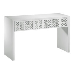 "Inviting Home - White Mirrored Console Table - lacquered white mirrored console table; 56""W x 18""D x 34""H; Rectangular console table with lacquered white finish. Console table has three drawers with mirrored panels and cut out designs."