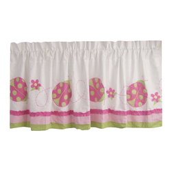 Pem America - Crazy Pink Ladybug Valance - Bright bands of pink and lime green with just what you would think...crazy pink lady bugs appliqued on the quilt. 1 Valance, 18 inches tall by 70 inches wide with 3 inch rod pocket. 100% cotton face cloth. Machine washable.