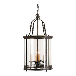 Kathy Kuo Home - Gardner Vintage Glass Panels French Black 4 Light Lantern Pendant - An attractively detailed wrought iron design forms the pinnacle of this four light lantern while decorative metal bands surround the top and bottom of the vintage glass panels. The finish is French Black.