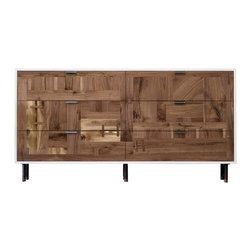 kith&kin - Walnut Patchwork Dresser - A classic modern frame in white lacquer with patchwork walnut drawer fronts. Hand selected and thoughtfully laid out pieces of walnut are carefully joined. Patches and Dutchmen are inlaid to stabilize and accentuate cracks and checks to add warm geometrical interest to a simple design for a distinct and unique look guaranteed to make a bold statement while remaining timeless. Our own shop made raw steel pulls and legs with turned walnut feet. Maple Dovetail Drawers and under mount soft close drawer guides.