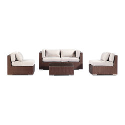 "Kardiel - Modify-It Patio Outdoor Furniture Loveseat/Sofa, Kauna 5-pc Set Wicker, Grey - Kauna offers comfortable lounging and classic modern outdoor styling. This 5-piece Modify-It layout features seating for 4, with a full size coffee table, in a space that is conducive to conversation. The flexible nature of Modify-It modular allows for customized reconfiguring of the layout at will.  The design origins are Clean European. The elements of comfort are inspired by the relaxed style of the Hawaiian Islands. The Aloha series comes in many configurations, but all feature a minimalist frame and thick, ample modern cube cushions. The back cushions are consistent in shape, not tapered in to create the lean back angle. Rather the frame itself is specifically ""lean tapered"" allowing for a full cushion, thus a more comfortable lounging experience. The cushion stitch style utilizes smooth and clean hand tailoring, without extruding edge piping. The generously proportioned frame is hand-woven of colorfast, PE Resin wicker. The fabric is Season-Smart 100% Outdoor Polyester and resists mildew, fading and staining. The ability to modify configurations may tempt you to move the pieces around... a lot. No worries, Modify-It is manufactured with a strong but lightweight, rust proof Aluminum frame for easy handling."