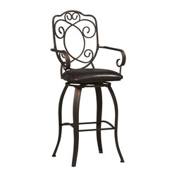 """Linon Home Decor - Linon Home Decor Crested Back Bar Stool 30 X-U-DK-10-LTM78720 - The elegance and unique style of this 30"""" Crested Back Bar Stool will carry throughout your kitchen, dining, or home pub area.   Crafted of metal and highlighted with subtle curves, a distinctive back, and comfortable arm rests, this stool is a positively striking addition to your home.   The cushion is piled high for extra comfort and covered in a wipe clean brown vinyl which is resistant to everyday wear and tear making this stool versatile for any gathering area.  275 pound weight limit."""