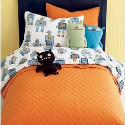 Kids Cotton Robot Bedding - Your little robot is bound to love this bright vintage-inspired bedding. With crisp images and soft fabric construction, this 100% cotton percale will have your kid doing the robot out of sheer glee.