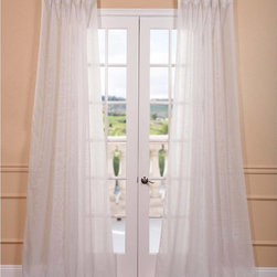 EFF - Signature Off White Double Layer Sheer Curtain Panel - These elegant double layered sheer curtains and panels are not only gorgeous but fall perfectly to the floor. The sheers feature a classic style and are unmatched in their quality and create a beautiful diffusion of light.
