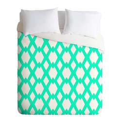 DENY Designs - DENY Designs Lisa Argyropoulos Daffy Lattice Aqua Duvet Cover - Lightweight - Turn your basic, boring down comforter into the super stylish focal point of your bedroom. Our Lightweight Duvet is made from an ultra soft, lightweight woven polyester, ivory-colored top with a 100% polyester, ivory-colored bottom. They include a hidden zipper with interior corner ties to secure your comforter. It is comfy, fade-resistant, machine washable and custom printed for each and every customer. If you're looking for a heavier duvet option, be sure to check out our Luxe Duvets!