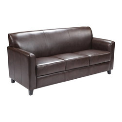 Flash Furniture - Flash Furniture Sofa X-GG-NB-3-728-TB - Make an impression with your clients and customers with this attractive leather reception chair. Reception chairs are perfect for the office and waiting room seating. Not only will this chair fit in a professional environment, but will add a chic look to your living room space. The contemporary design of this chair will fit in a multitude of environments with its comfortable cushions, flaired arms and black feet. [BT-827-3-BN-GG]