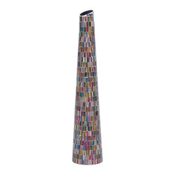 Designed Metal Glass Vase with Multi Color - Symbolizing sublime artistry, this pretty vase stands out amongst the decorative items, and enhances the room decor both in the home and office setting. The vibrant colors of the glass segments embedded in the sturdy metal frame make this vase a compact art piece worthy of placement anywhere and in any background setting. This lively vase is shaped like a cone with a broad base and a tapering top portion. The multiple colored glass pieces arranged one by one lends a subtle charm to this vase. This rich vase is perfectly finished and occupies minimal space making it suitable for any part of your living space. You can insert any colored flowers or simply leave it as it is, to make the interiors really decorated. The top quality combination of metal and glass provides the right mix of endurance and trendy look to this wonderful vase.. It comes with a dimension: