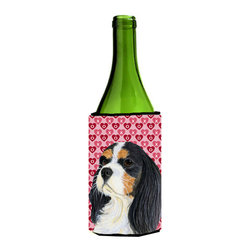 Caroline's Treasures - Cavalier Spaniel Hearts Valentine's Day Portrait Wine Bottle Koozie Hugger - Cavalier Spaniel Hearts Love and Valentine's Day Portrait Wine Bottle Koozie Hugger Fits 750 ml. wine or other beverage bottles. Fits 24 oz. cans or pint bottles. Great collapsible koozie for large cans of beer, Energy Drinks or large Iced Tea beverages. Great to keep track of your beverage and add a bit of flair to a gathering. Wash the hugger in your washing machine. Design will not come off.
