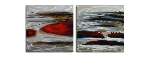 """Omax Decor - High Tide Hand painted 2 Piece Metal Art Set - Overall size: 32"""" x 64"""" (32"""" x 32"""" x 2 pc). Enjoy a 100% Hand Painted Wall Art made with acrylic paints on brushed aluminum plate attached to canvas stretched over a 1"""" thick wooden frame. The painting is professionally hand-stretched and ready to hang out of the box. With each purchase of our art you receive a one of a kind piece due to the handcrafted nature of the product."""